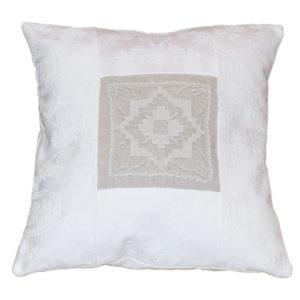 Cuscino in tessuto di Damasco bianco e interno di Lino
